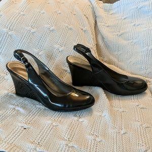 Black wedge slingback heels sz 9 dexflex by dexter